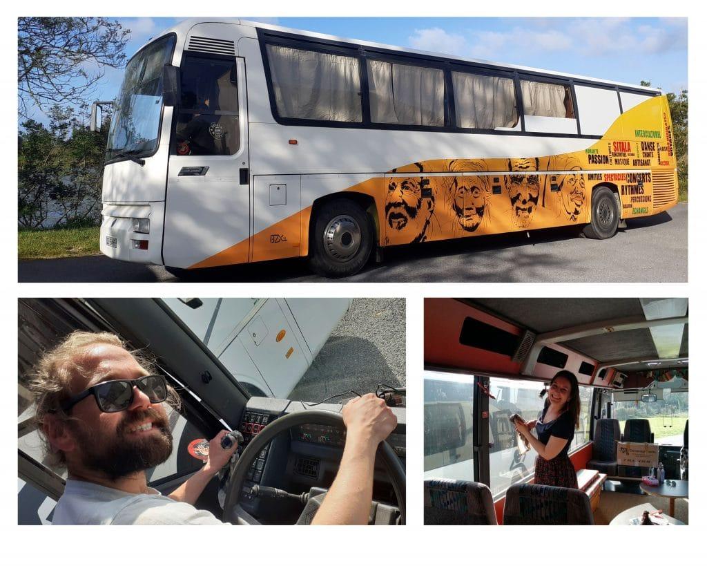 Bus de la Caravane Sitala pour la tournée Africa 2020